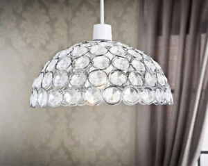 The Lighting Co Vienna Dome Pendant Light Shade Clear Crystal Max 60 Watt