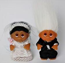 DAM Troll 18 cm 80er 90er Jahre Vintage Figur Brautpaar Hochzeit Braut Bräutigam
