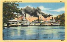 Linen Postcard California H710 Steamboat Races on River Sacramento San Joaquin