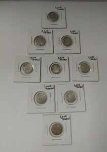 Canadian Victorian 5 Cent Love Tokens - Lot of 9