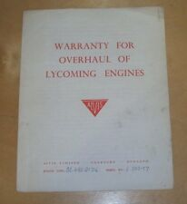 ALVIS WARRANTY FOR OVERHAUL OF LYCOMING ENGINES ENGINE TYPE GO.480.G1D6 L.202-37
