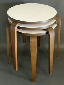 Vintage Mid Century Modern Alvar Aalto Set 3 Stacking Stools White Laminate Top