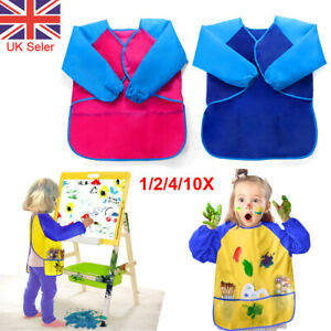 Toddler Kids Waterproof Cooking Painting Apron Smock Art Craft Long Sleeve UK