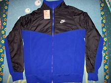 Nike Jacket Mens Zip Front Fleece Nylon Running Swoosh Blue Black Sz Large NWT