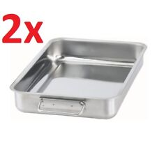 2x IKEA KONCIS Stainless Steel Roasting Tin Baking Pan Tray 34 x 24cm w/ Handles