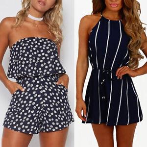 Women Ladies Summer Holiday Mini Playsuits Beachwear Shorts Sundress Jumpsuits