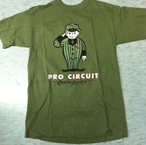 Vintage olive green Pro Circuit motocross trail short sleeve t-shirt sz M