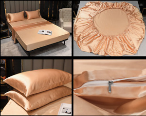 Bed Sheets Flat Fitted Sheet Bedding Sets Bedskirt Silk Satin Mattress Covers