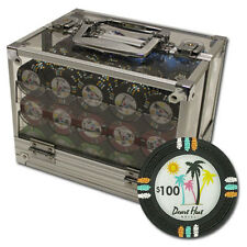New 600 Desert Heat 13.5g Clay Poker Chips Set with Acrylic Case - Pick Chips!