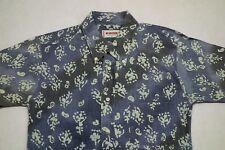 McGregor Leopard Blue Shirt Oxford Fade VTG *Mens* Vintage Floral Hawaiian 90s