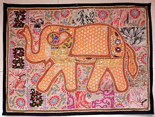 Vintage Tapestry Elephant Patchwork Wall Hanging Hippie Handmade Embroidered E95
