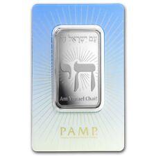 Lingot Suisse PAMP 1 Once argent pur 999 / AM YISRAEL CHAI 1 Oz Fine Silver Bar