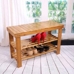 3 Tier Bamboo Shoe Rack Organiser Wooden Storage Shelves Stand Shelf Unit UK