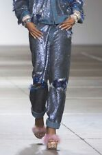 ASHISH Blue Sequin Fringe Boyfriend Distressed Denim Jeans XS