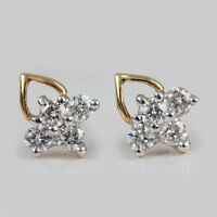 Natural Diamond Pave Solid 14k Yellow Gold Stud Earrings Jewelry NEW COLLECTION