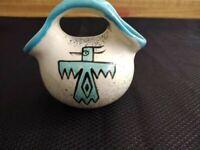 MCM Loma of Arizona wedding vase SW pottery Turquoise Thunderbird