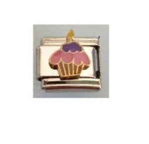 9mm  Italian Charms E74 Cupcake Birthday Cake Fits Classic Size Bracelet