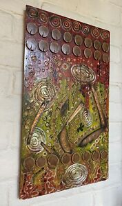Vintage Mid Century Painting 1970's Abstract Figures R Bansgrove