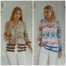 Knitting Pattern Donna 3/4 Manica Collo a V volant Cardigan & Maglione OPPIO 4466