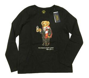Polo Ralph Lauren Girls Black Cocoa Polo Bear Graphic Long Sleeve T-Shirt