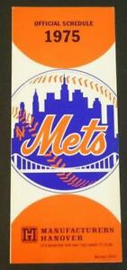 1975 New York Mets Baseball Official Schedule Manufacturers Hanover NM