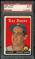 1958 Topps BB Card #185 Ray Boone Detroit Tigers PSA NM 7 !!!