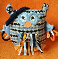 Little Jellycat Blue Owl Knitted Soft Toy Activity Sensory Pram Toy J2029F