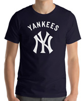 New York YANKEES Navy T-Shirt WHITE Graphic Cotton Adult Logo Jersey NY S-2XL