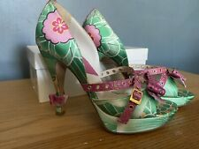 Dior Queen Mum Green Floral Peep Toe Heels Platform UK6.5 Green