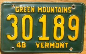 1948 Vermont License Plate Number Tag – Green Mountains