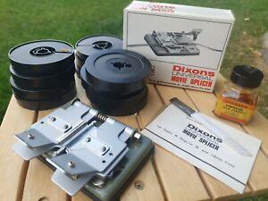 Dixons Tri Super 8 / 8mm / 16mm Cine FIlm Splicer & Box, Tape Reels & Cement