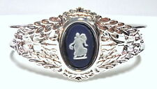 "Authentic Wedgwood Jewelry- Cuff Bracelet - ""Dancing hours""  Blue Jasperware"