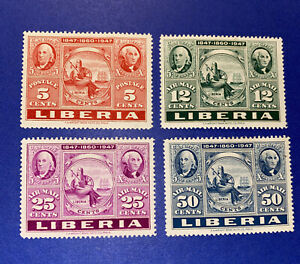 4 Liberia Stamps - 1947- Series: Stamp Exhibitions - MLH