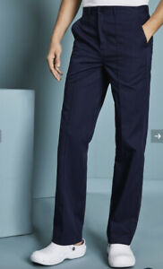 Simonjersey Men's Unhemmed Flat Front Trousers, Navy 30""