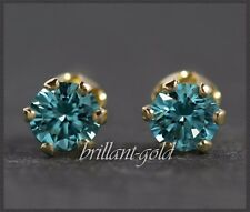 Diamant Brillant Damen Ohrstecker 585 Gold 0,10 ct / Blau / VS-Si, Schmuck