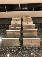 12x Heineken Stainless Steel Reserved Table Signs Restraunt Pub Hotel Shed Man