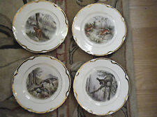 Lot of 4 Dresden Scalloped Plates Semi Porcelain Wild Game Animals