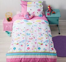 Birdie Tree Purple Pink White Reversible Double Size Quilt Doona Cover Set