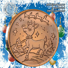 Rudolph Christmas Design 1oz .999 Copper round with Tree Back