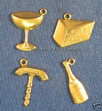 60pc Raw Brass Wine and Cheese Party Charm Lot 5763