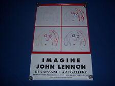 1990 vintage JOHN LENNON art exhibit poster-IMAGINE-beatle-PHILADELPHIA GALLERY