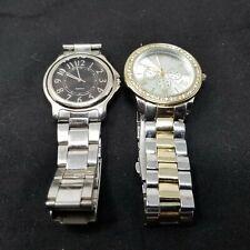 Lot of 2 Quartz Watches Silver Gold Black new batteries running