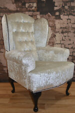 Ivory Velvet Diamond Boutique, Queen Ann Cottage Style Wing Back Chair