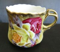 NIPPON Antique Teacup Heavy Gold Cabbage Roses Maple Leaf Back stamp RARE