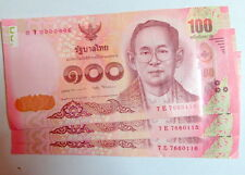3 Thailand Thai 100 Baht consecutive Banknotes Uncirculated 2015 of Late King