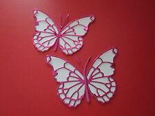12 media 3D Die Cut decorazioni di farfalla in Bianco/Rosa duur CARD