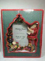 "VINTAGE 3D RESIN HOLIDAY PHOTO FRAME SANTA CLAUSE CHRISTMAS TREE TOYS 5"" X 7""NEW"