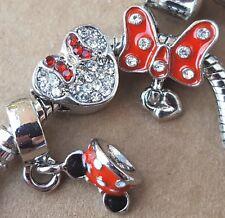 Disney Minnie Red Polka Dot Ears Hat Bow Crystal Mouse Heart European Bead Charm