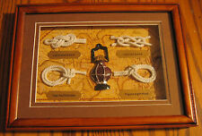 SAILOR SHIP KNOTS Display Board in Hardwood Shadow Box! Ship Lantern/ 4 Knots