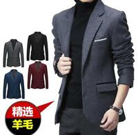 Winter Mens Jacket Wool Blend Lapel Blazers Coat Formal Business Tops Suits Size